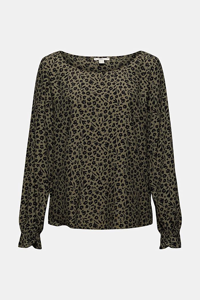 Gebloemde blouse met volantdetails, LENZING™ ECOVERO™, DARK KHAKI, detail image number 6