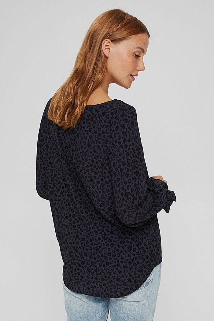 Gebloemde blouse met volantdetails, LENZING™ ECOVERO™, NAVY, detail image number 3