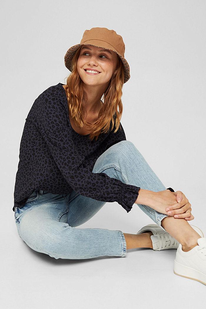Gebloemde blouse met volantdetails, LENZING™ ECOVERO™, NAVY, detail image number 5