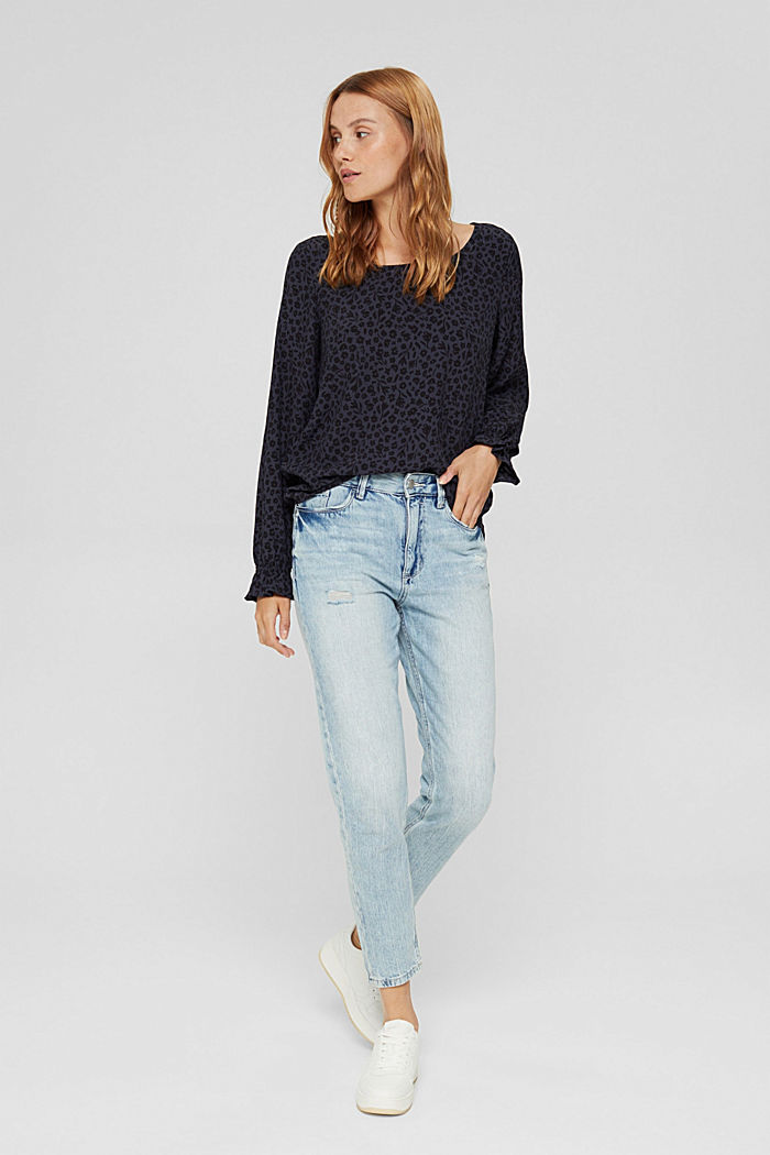 Gebloemde blouse met volantdetails, LENZING™ ECOVERO™, NAVY, detail image number 1