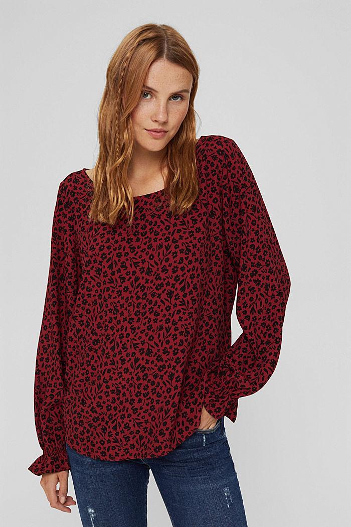 Bluzka w kwiaty z falbankami, LENZING™ ECOVERO™, DARK RED, detail image number 0
