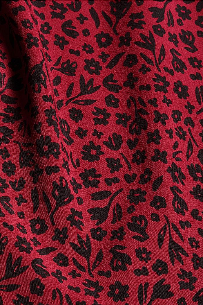 Bluzka w kwiaty z falbankami, LENZING™ ECOVERO™, DARK RED, detail image number 4
