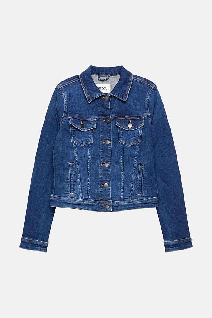 Jeansjacka i sliten look, ekologisk bomull