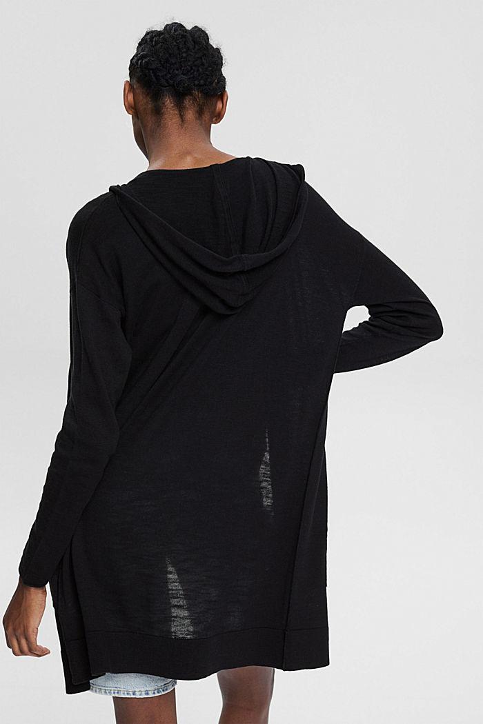 Open cardigan made of 100% organic cotton, BLACK, detail image number 3