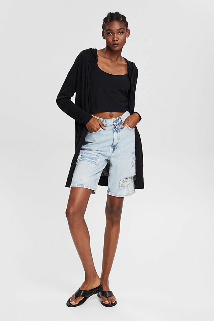 Open cardigan made of 100% organic cotton, BLACK, detail image number 1