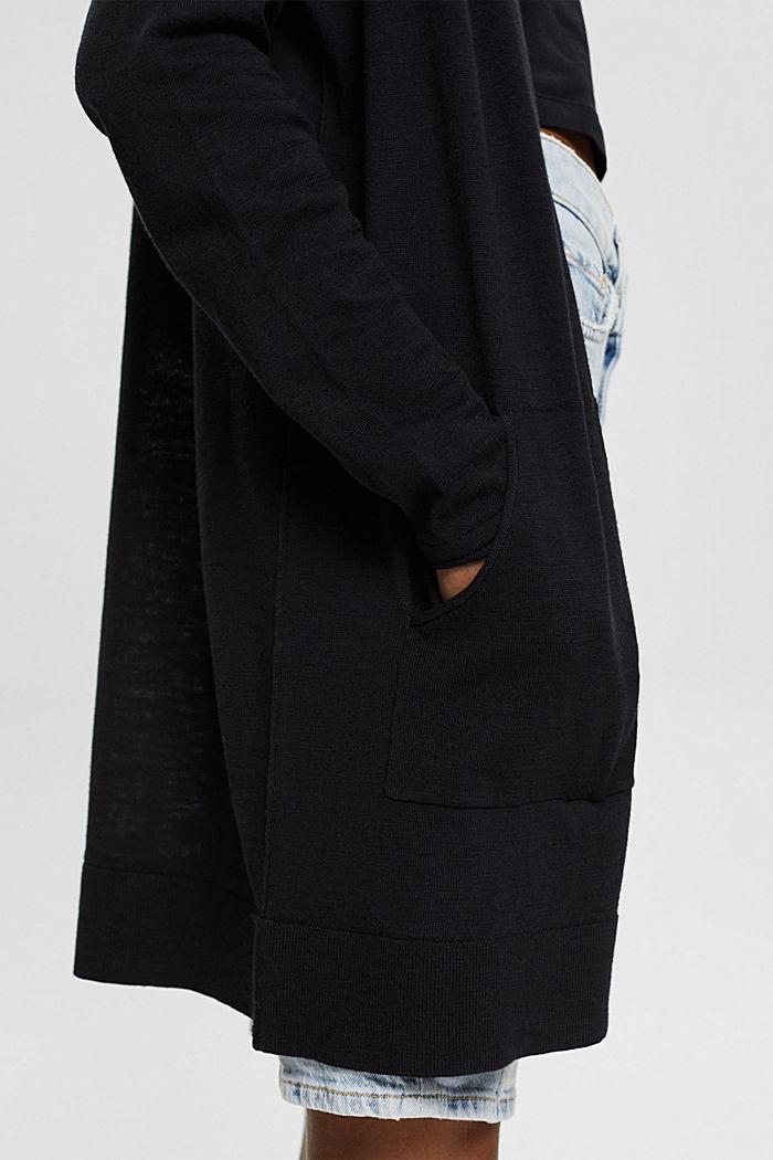 Open cardigan made of 100% organic cotton, BLACK, detail image number 2