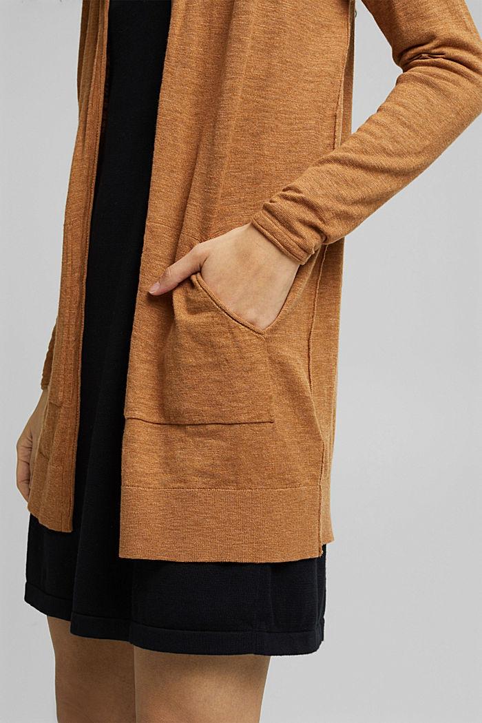 Cardigan aperto in 100% cotone biologico, CARAMEL, detail image number 2