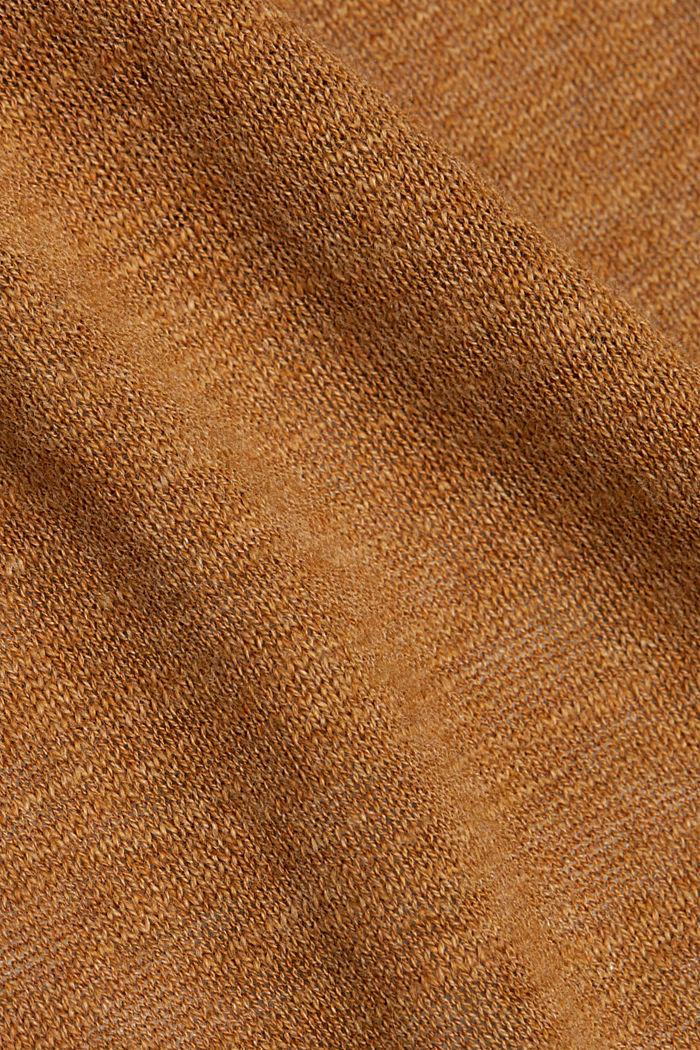 Cardigan aperto in 100% cotone biologico, CARAMEL, detail image number 4