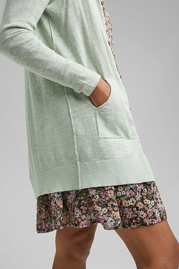 Open cardigan made of 100% organic cotton, PASTEL GREEN, detail image number 2