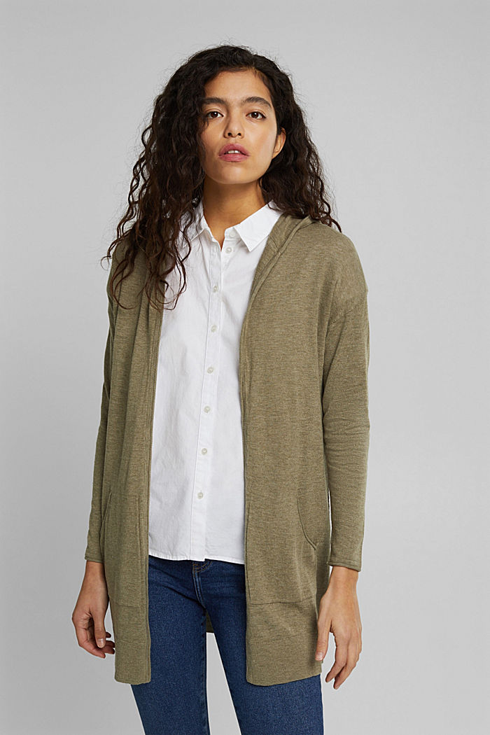 Open cardigan made of 100% organic cotton, LIGHT KHAKI, detail image number 0