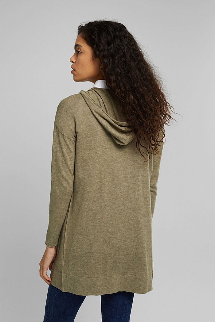 Open cardigan made of 100% organic cotton, LIGHT KHAKI, detail image number 3