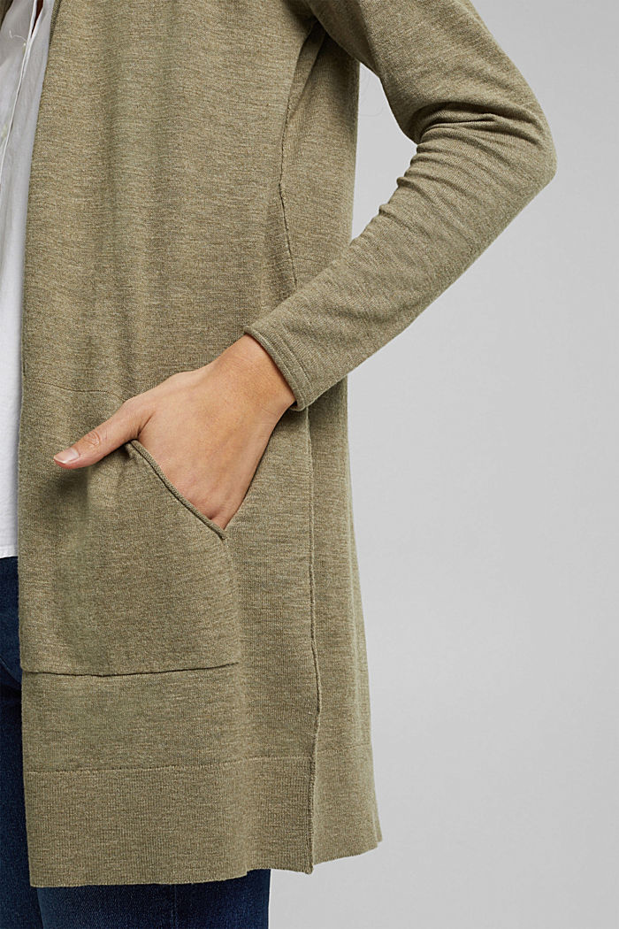 Open cardigan made of 100% organic cotton, LIGHT KHAKI, detail image number 2