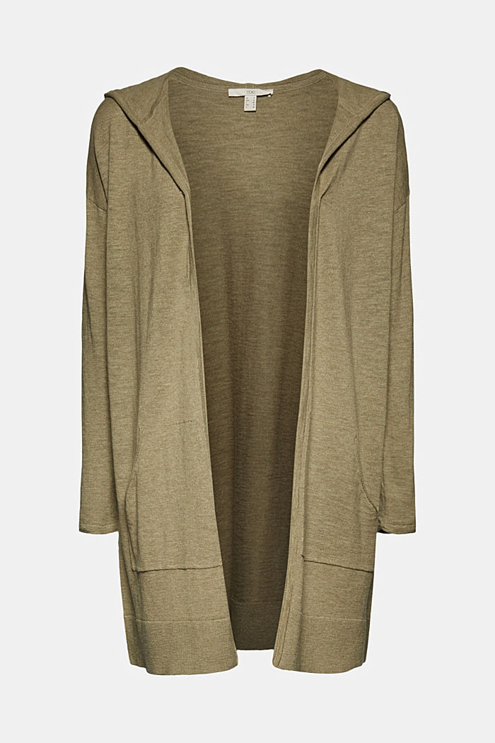 Open cardigan made of 100% organic cotton, LIGHT KHAKI, detail image number 5