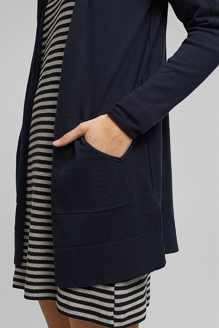 Open cardigan made of 100% organic cotton, NAVY, detail image number 2