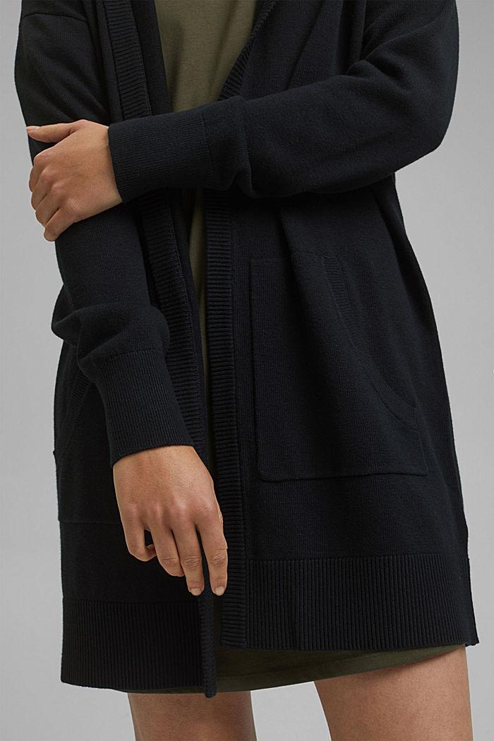 Cardigan lungo con cappuccio in misto cotone biologico, BLACK, detail image number 2