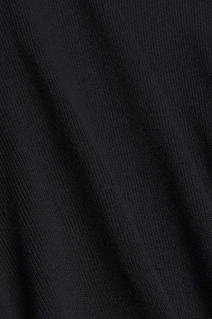 Cardigan lungo con cappuccio in misto cotone biologico, BLACK, detail image number 4