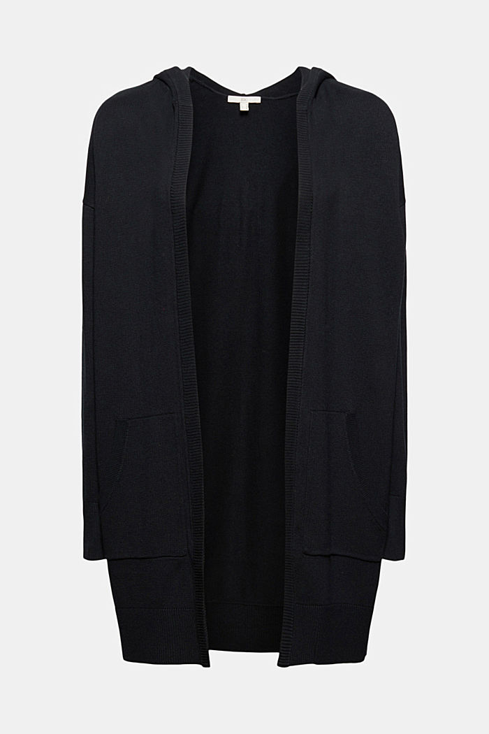 Cardigan lungo con cappuccio in misto cotone biologico, BLACK, detail image number 6