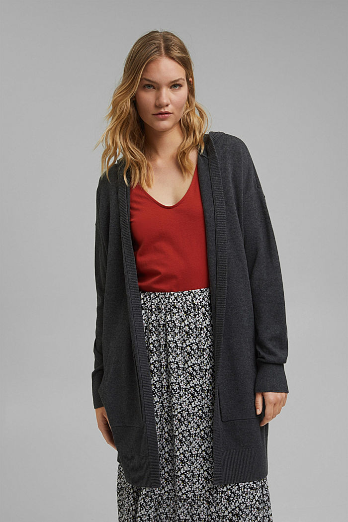 Long hooded cardigan made of blended organic cotton