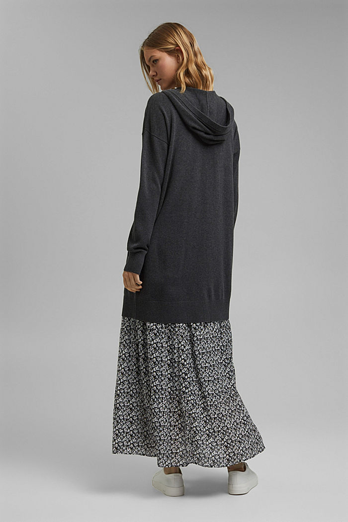 Long hooded cardigan made of blended organic cotton, ANTHRACITE, detail image number 3