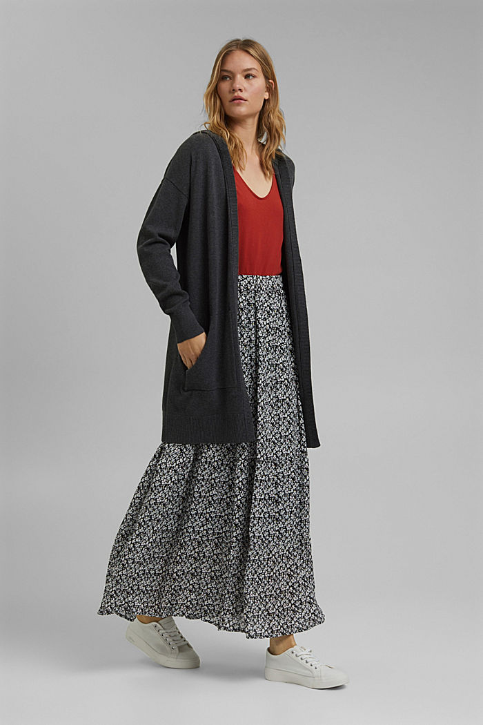Long hooded cardigan made of blended organic cotton, ANTHRACITE, detail image number 1