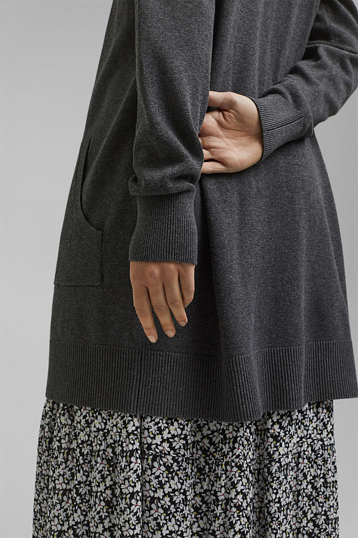 Long hooded cardigan made of blended organic cotton, ANTHRACITE, detail image number 2