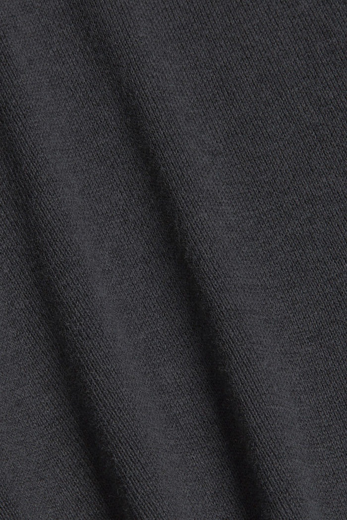 Long hooded cardigan made of blended organic cotton, ANTHRACITE, detail image number 4