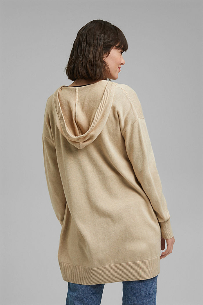 Long hooded cardigan made of blended organic cotton, BEIGE, detail image number 3