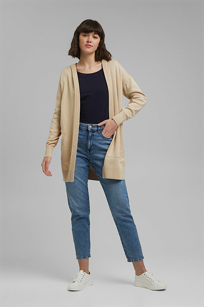 Long hooded cardigan made of blended organic cotton, BEIGE, detail image number 1