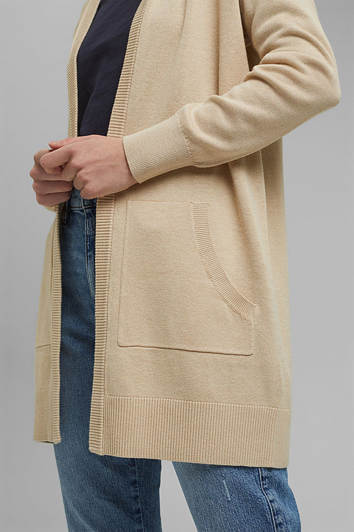 Long hooded cardigan made of blended organic cotton, BEIGE, detail image number 2