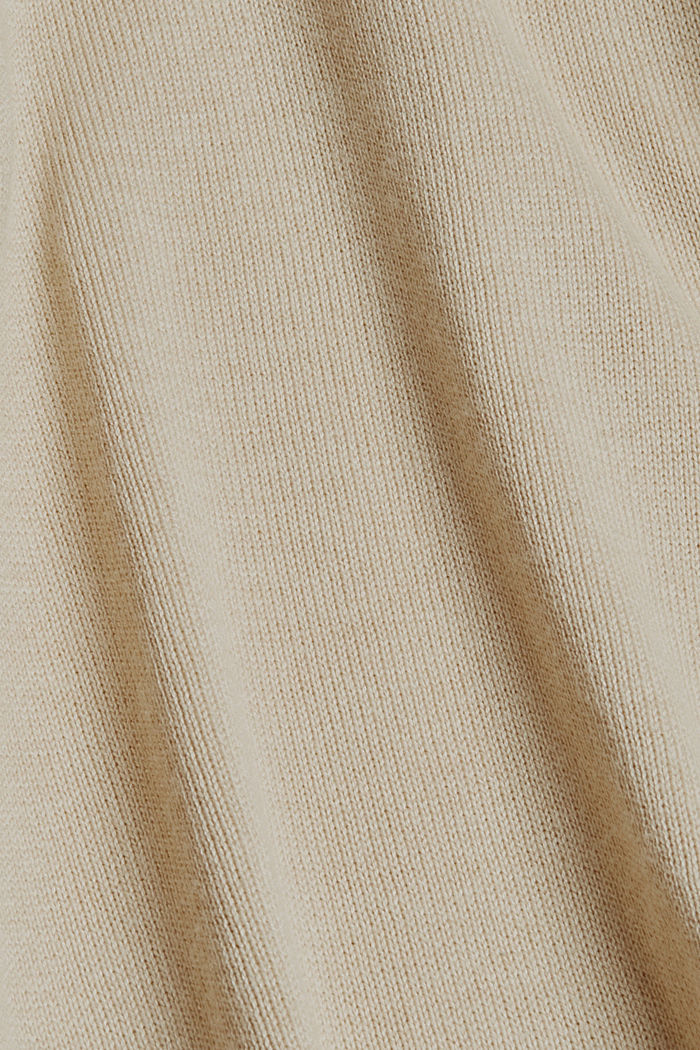 Long hooded cardigan made of blended organic cotton, BEIGE, detail image number 4