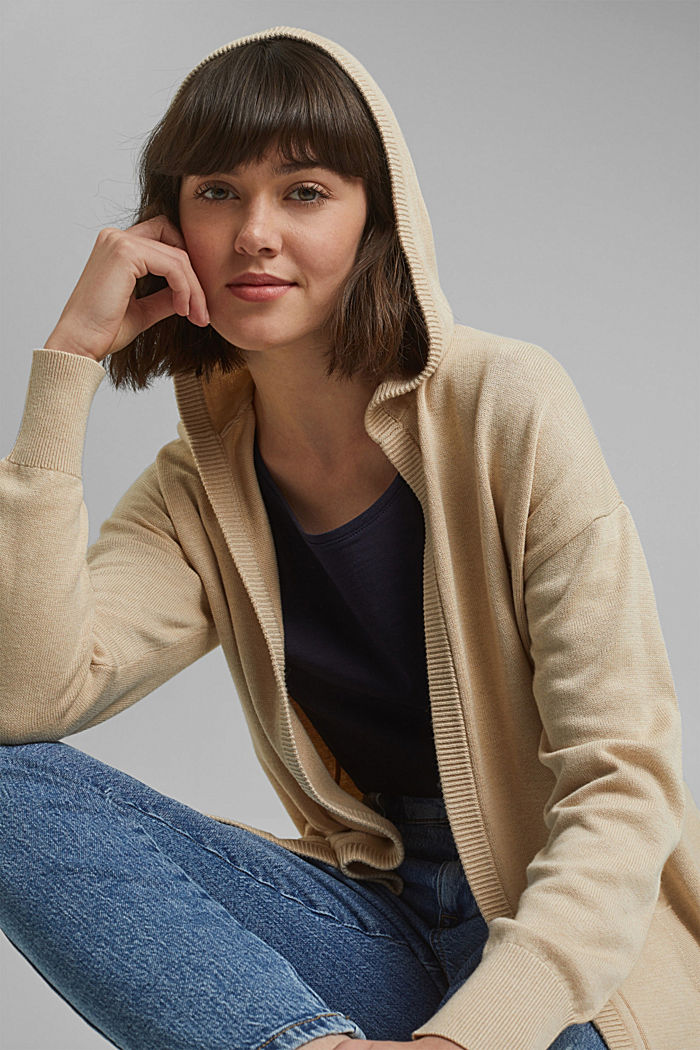 Long hooded cardigan made of blended organic cotton, BEIGE, detail image number 5