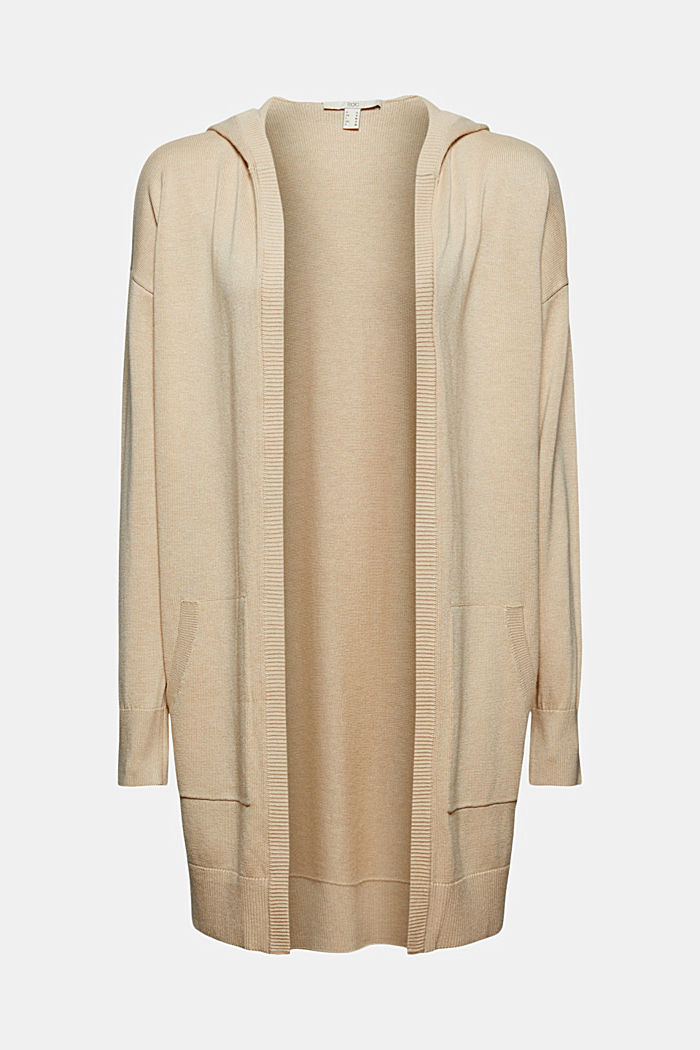 Long hooded cardigan made of blended organic cotton, BEIGE, detail image number 6