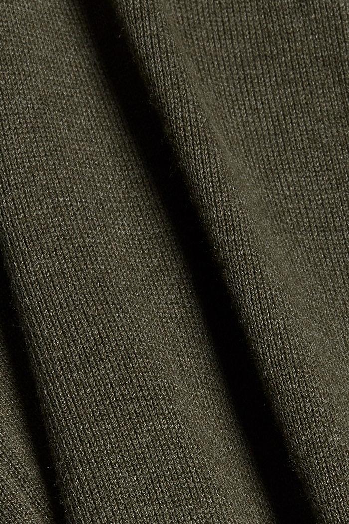 Cárdigan largo confeccionado en una mezcla de algodón con capucha, DARK KHAKI, detail image number 4