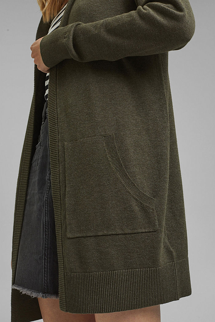 Cárdigan largo confeccionado en una mezcla de algodón con capucha, DARK KHAKI, detail image number 5