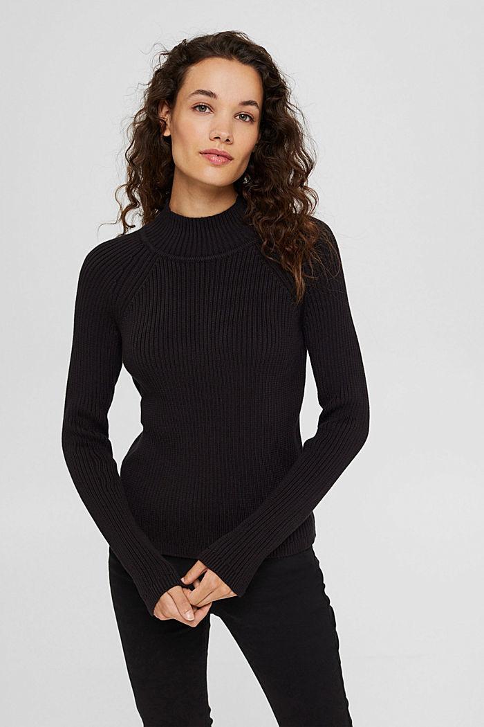 Rib knit jumper made of 100% cotton, BLACK, detail image number 0