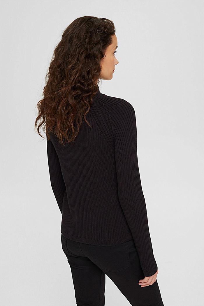 Rib knit jumper made of 100% cotton, BLACK, detail image number 3