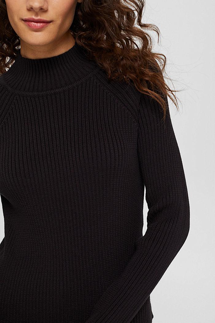 Rib knit jumper made of 100% cotton, BLACK, detail image number 2