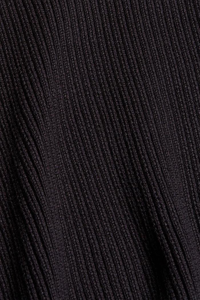 Rib knit jumper made of 100% cotton, BLACK, detail image number 4