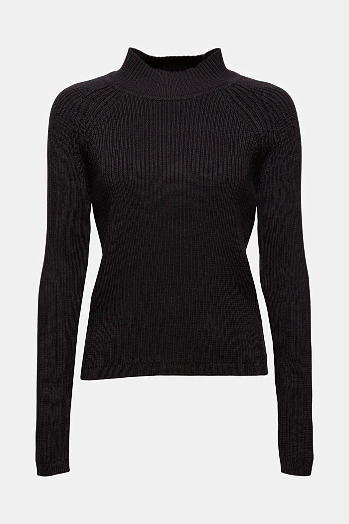 Rib knit jumper made of 100% cotton, BLACK, detail image number 5