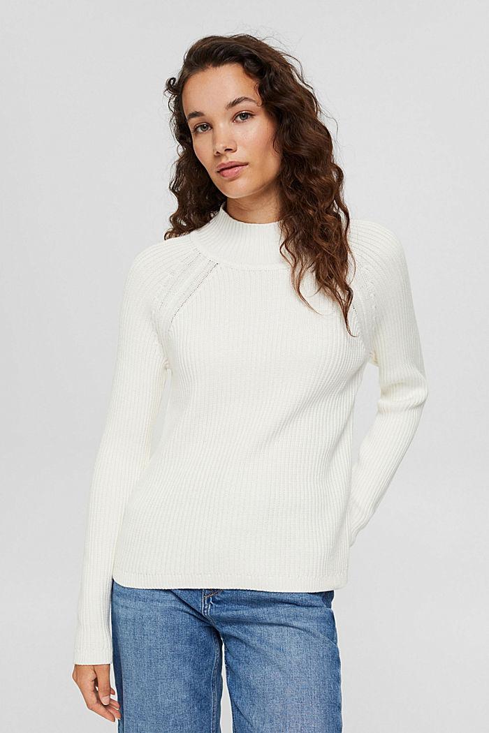 Rippstrick-Pullover aus 100% Bio-Baumwolle, OFF WHITE, detail image number 0