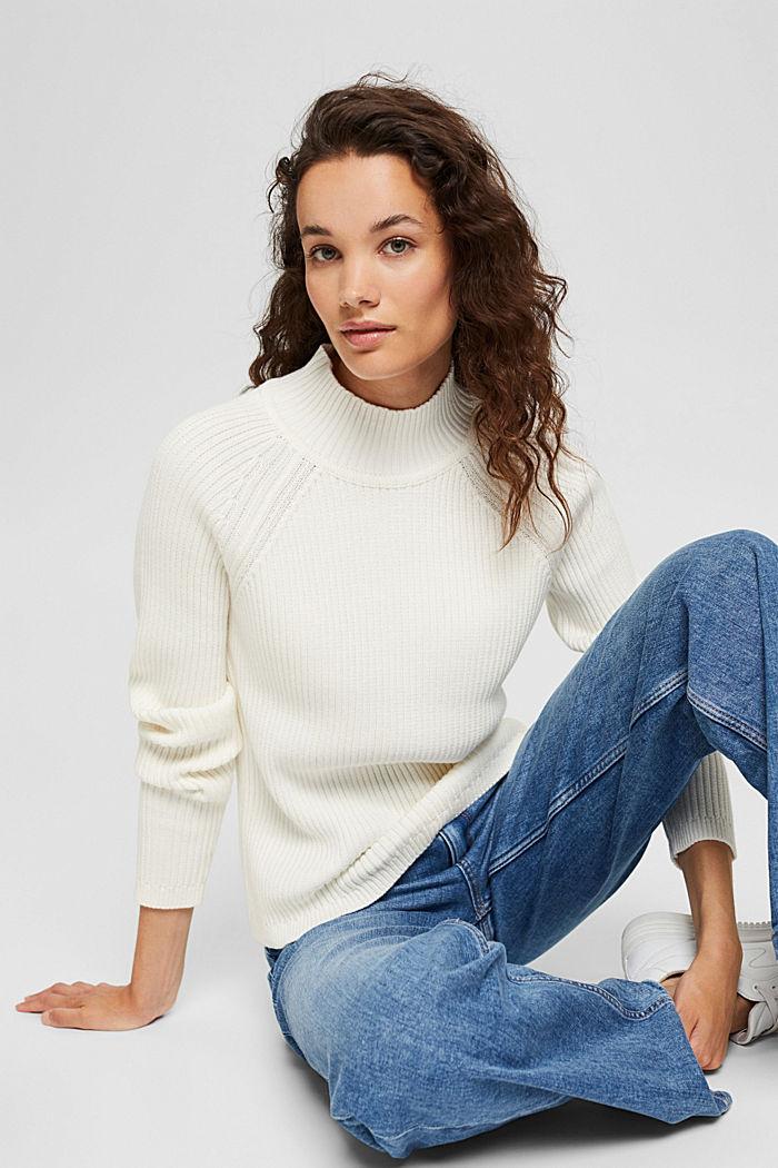 Rib knit jumper made of 100% cotton