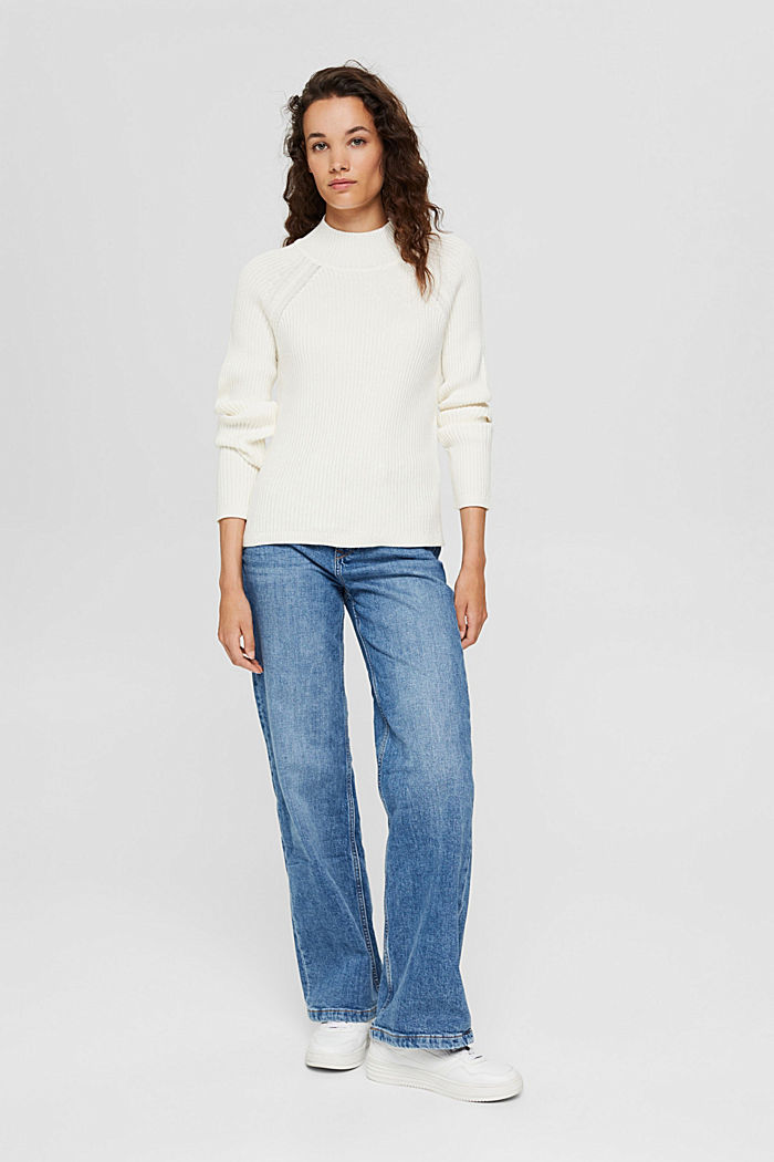 Rippstrick-Pullover aus 100% Bio-Baumwolle, OFF WHITE, detail image number 1