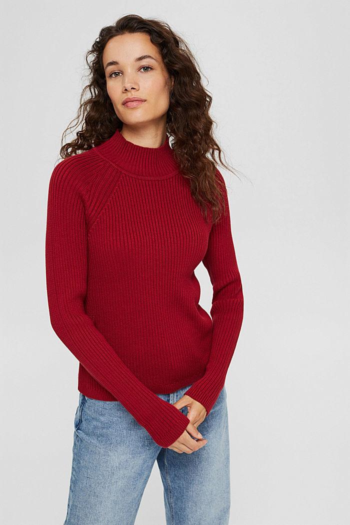 Sweter z dzianiny w prążki, 100% bawełny ekologicznej, DARK RED, detail image number 0