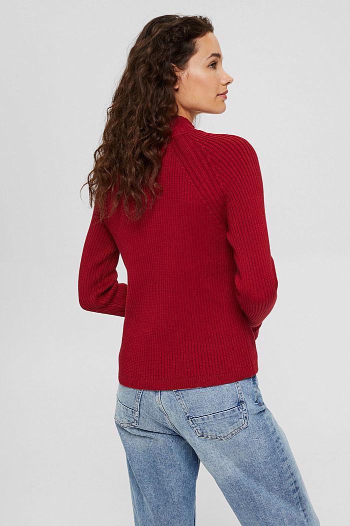 Sweter z dzianiny w prążki, 100% bawełny ekologicznej, DARK RED, detail image number 3