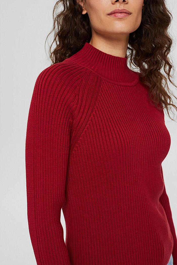 Sweter z dzianiny w prążki, 100% bawełny ekologicznej, DARK RED, detail image number 2
