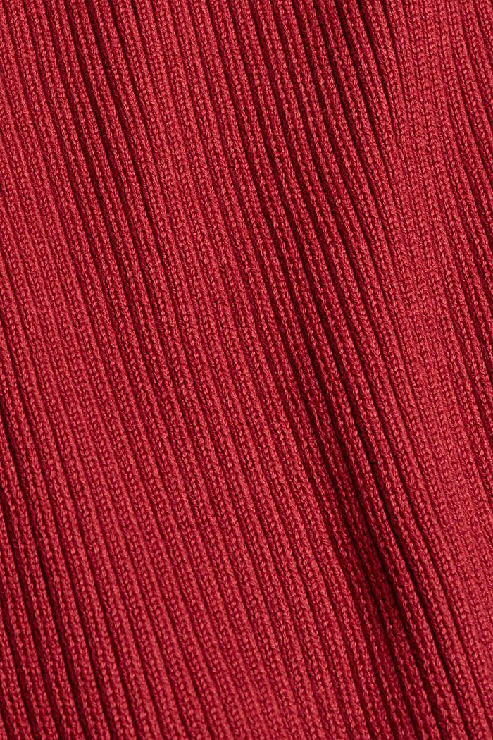 Sweter z dzianiny w prążki, 100% bawełny ekologicznej, DARK RED, detail image number 4