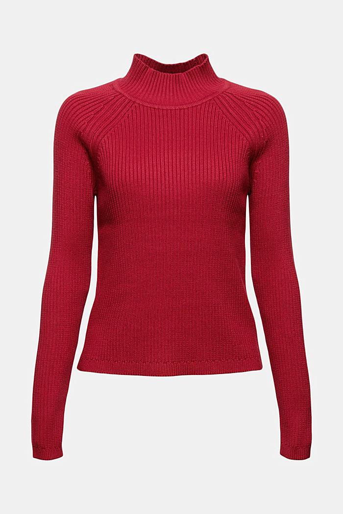 Sweter z dzianiny w prążki, 100% bawełny ekologicznej, DARK RED, detail image number 5