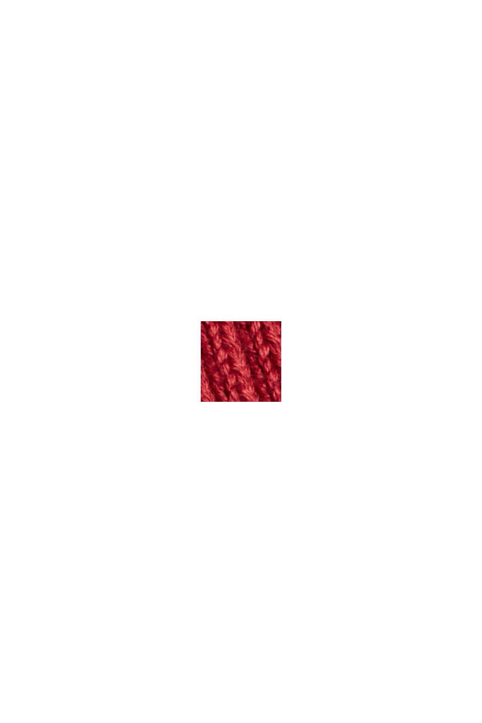 Rib knit jumper made of 100% cotton, DARK RED, swatch