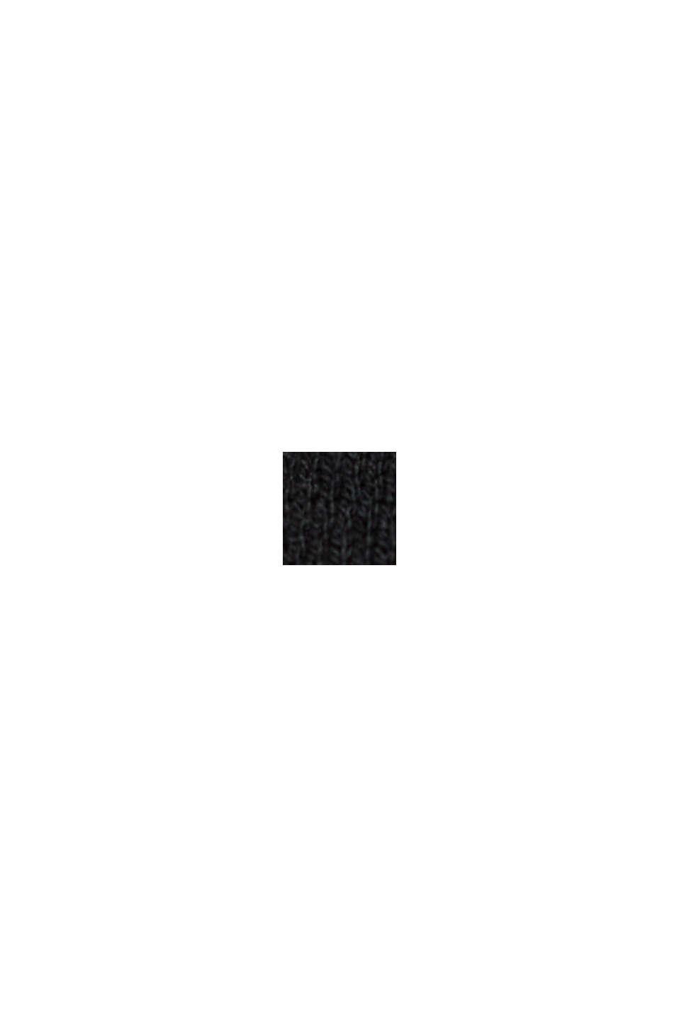 Rullekravebluse med økologisk bomuld, BLACK, swatch