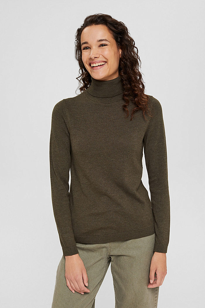 Polo neck jumper with organic cotton, DARK KHAKI, detail image number 0